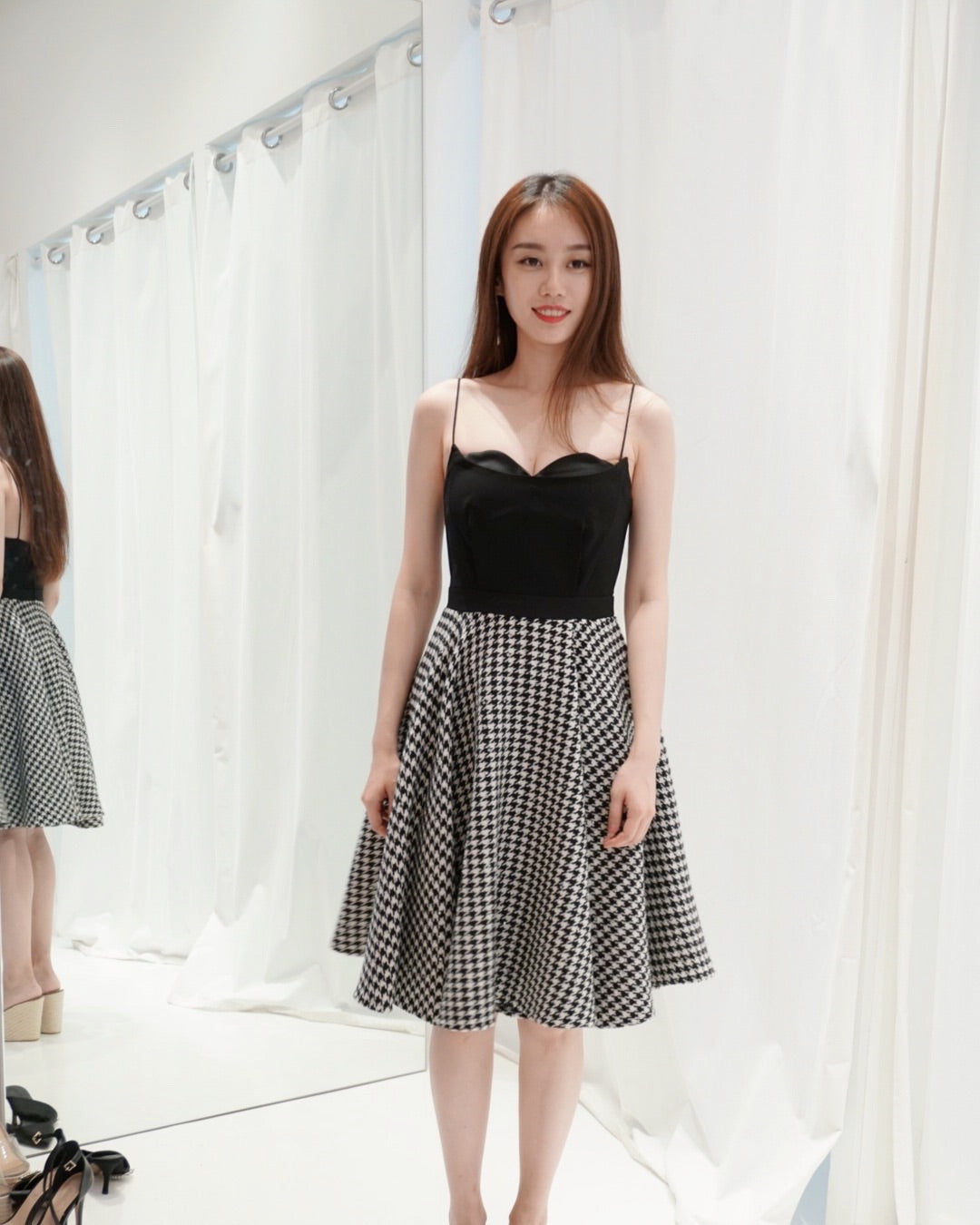 Houndstooth Flare Dress