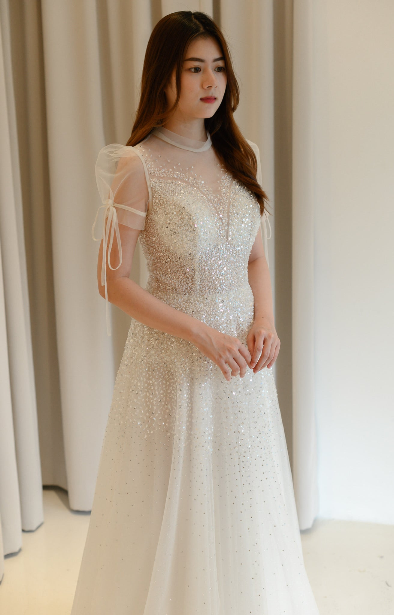 Charlotte Crystal White Puffy Sleeve Gown