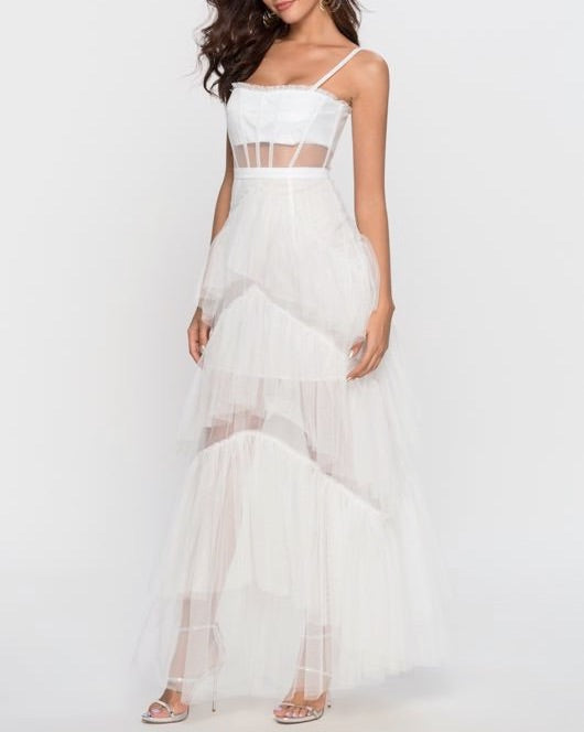 *SALE* Jane Tulle White Layered Dress