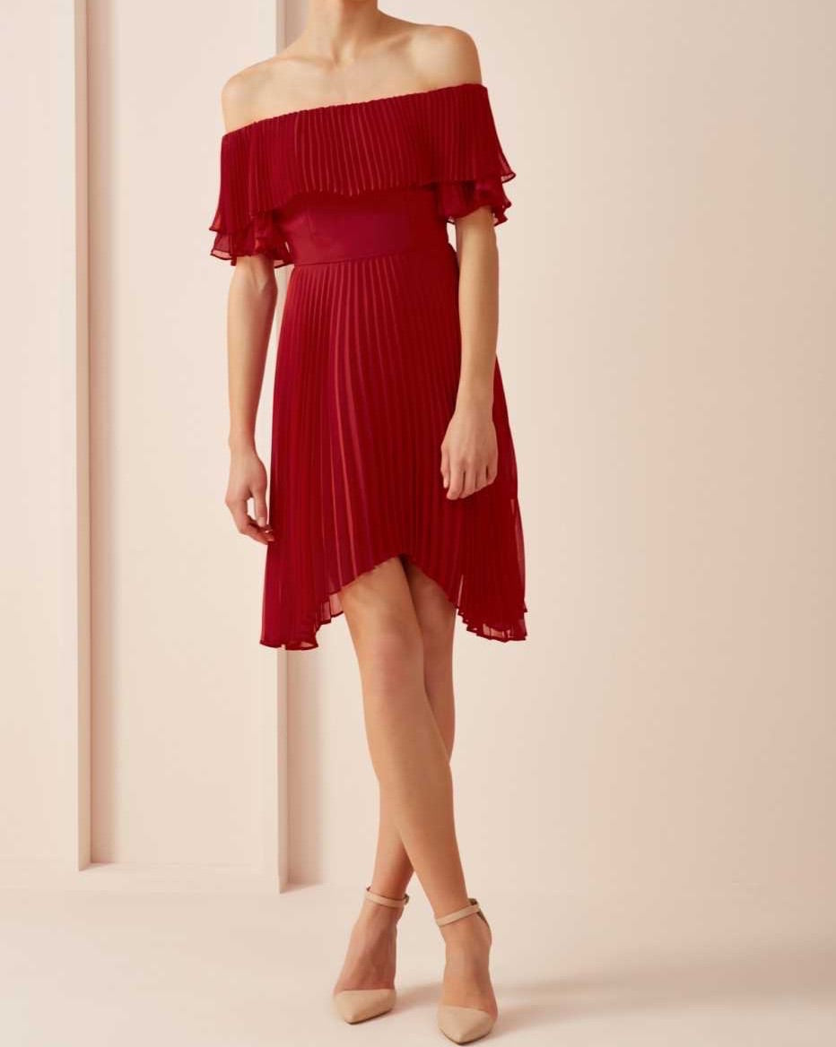 Lisha Pleated Red Dress
