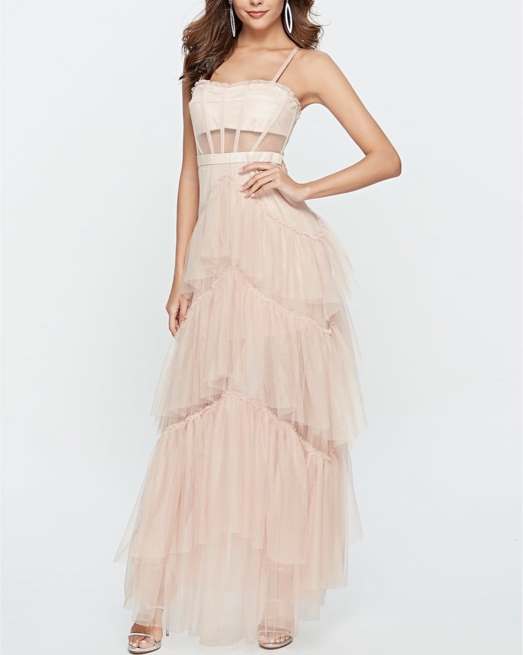 Jane Tulle Beige Layered Dress