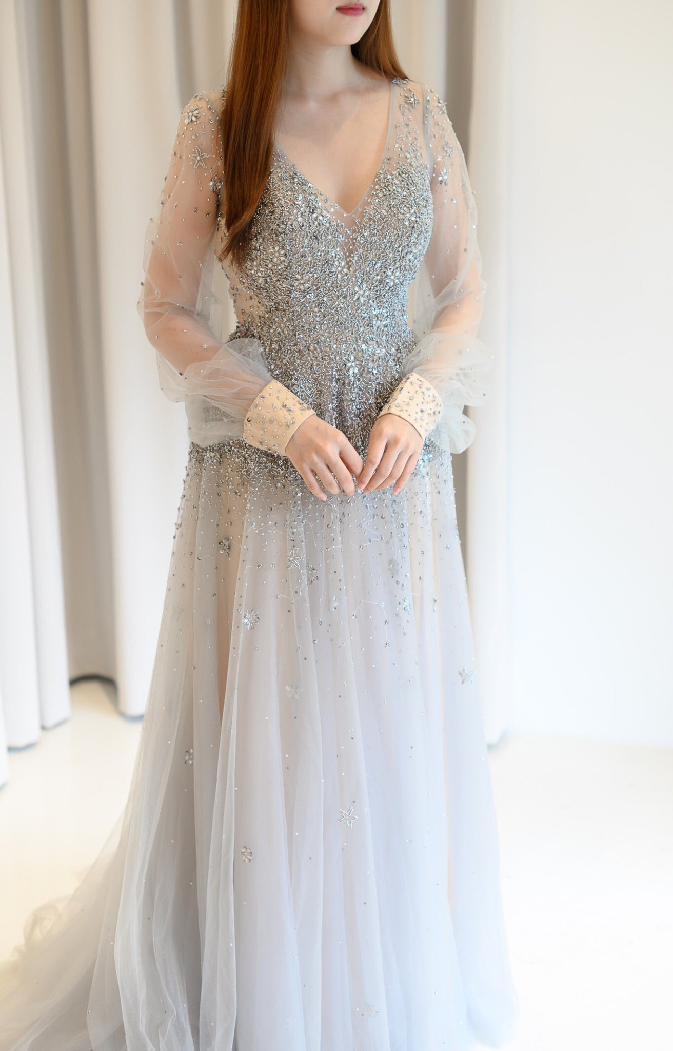 Alina Beaded Long Sleeve Gown