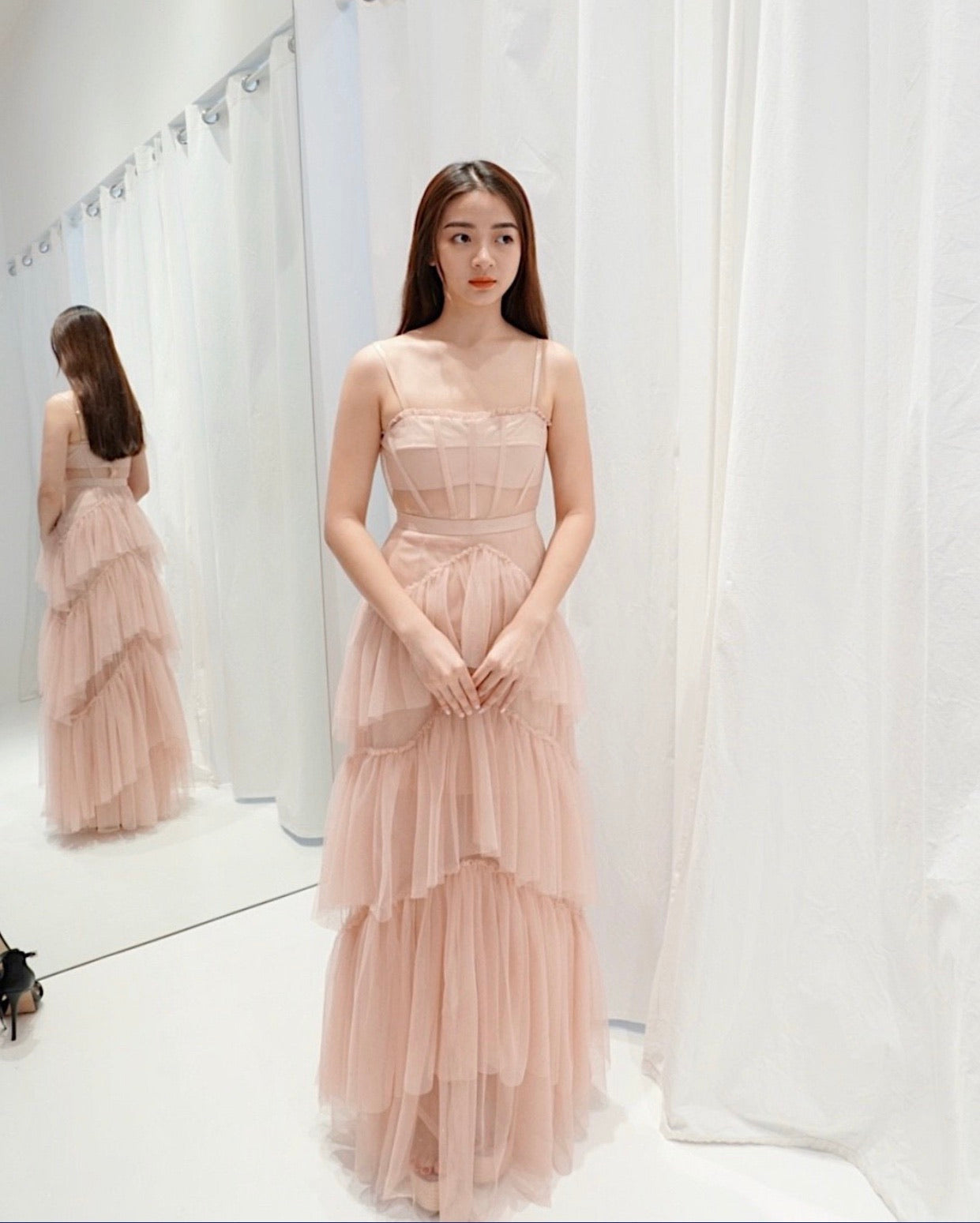 Jane Tulle Champagne Layered Dress