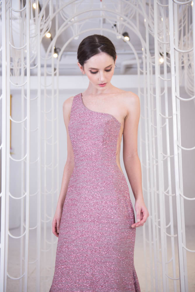 J Moiree Pink Gown