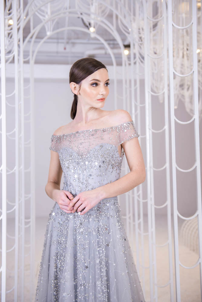 Shinning Stars Grey Gown
