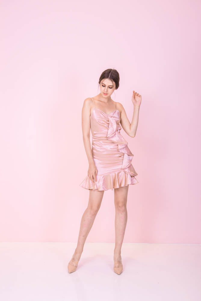 SOLD OUT Silky Ruffles Pink Dress