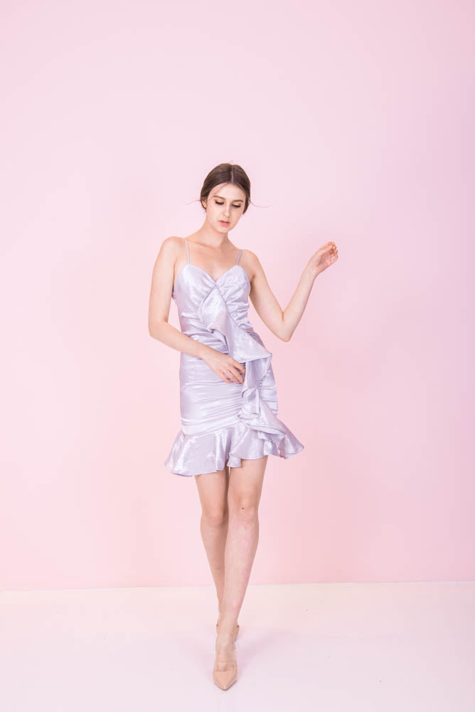 Silky Ruffles Silver Dress