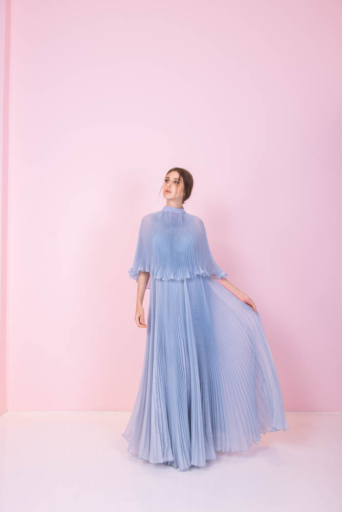 Sky Blue Pleated Gown