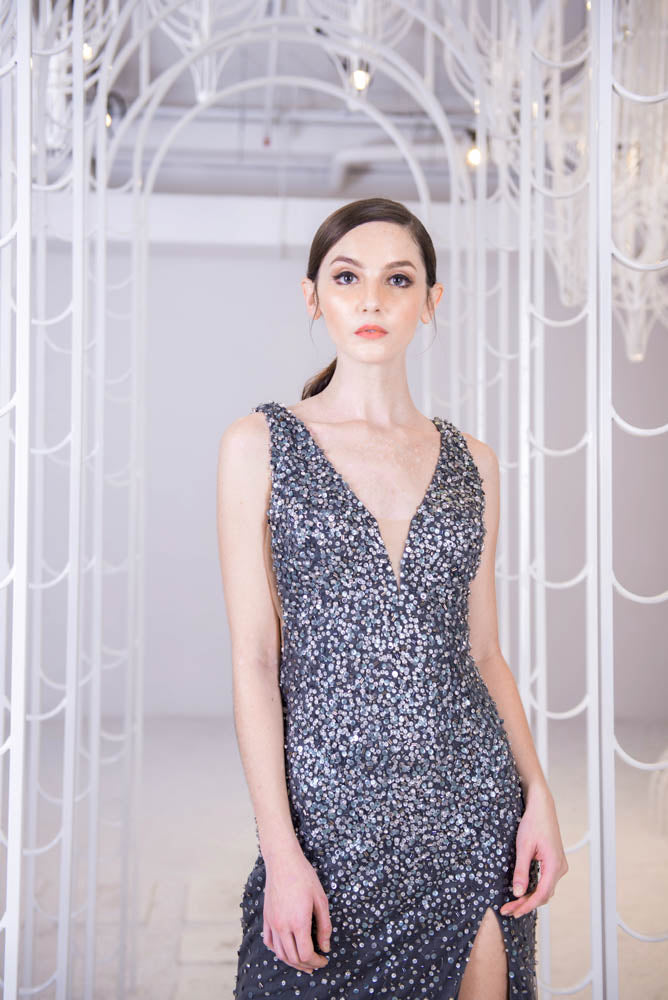 J Starling Constellation Dark Grey Gown