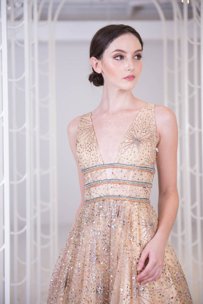 J Golden Starry Plunging Gown