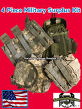 4 piece Military Surplus accessory kit. Pouch, Tri Mag, Box Pouch Bag Magazine Canteen bug out bag accessory