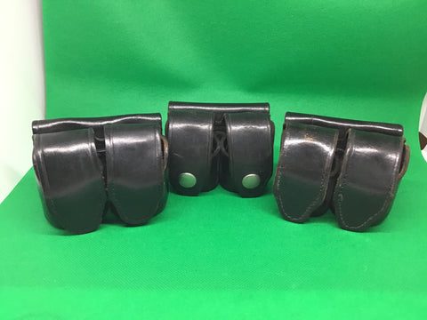 3 HKS 103 Med Double Pouches for revolver speed loaders. Black Leather. Police Law Enforcement Surplus