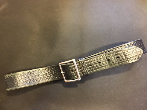 "Leather Police Duty Belt  Heavy Duty Basketweave 1 & 1/2"" wide 44 "" Long"
