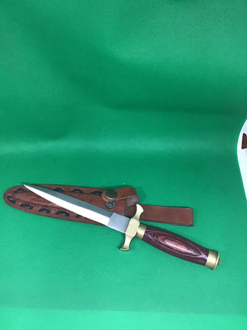 "Dagger Knife Brass and wood 6"" blade"