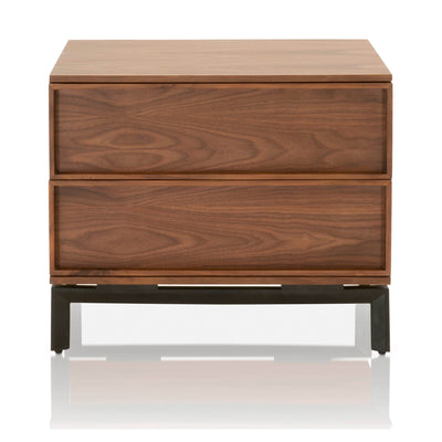 Andes Nightstand with Walnut, Black | Solid Walnut & Walnut Veneer, Metal Base