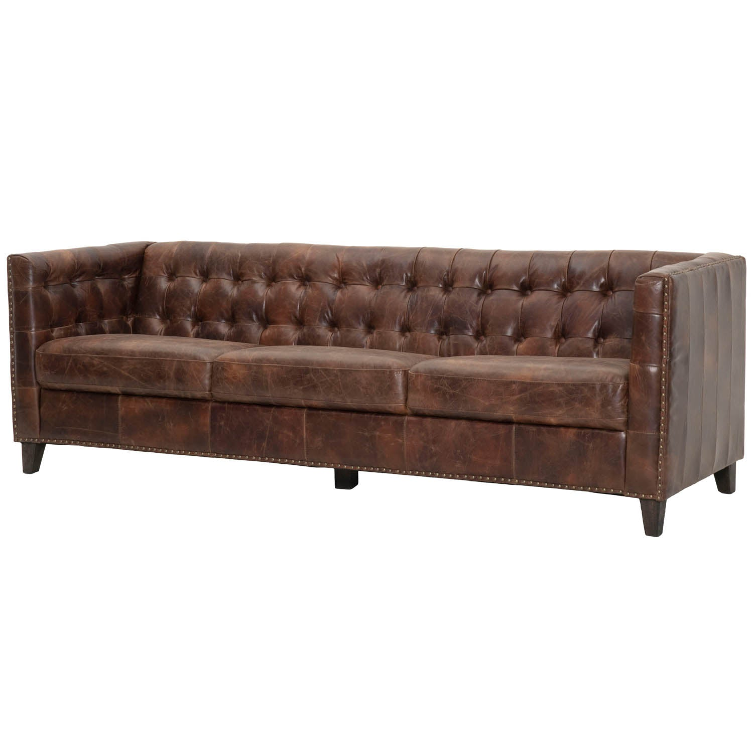 Genuine Leather Sofa - Traditional Style 95\