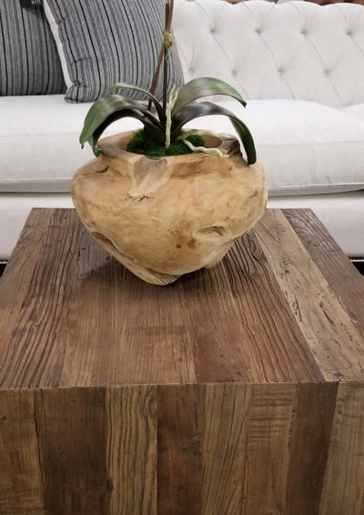 Round teak wood planter - J Turner & Co.