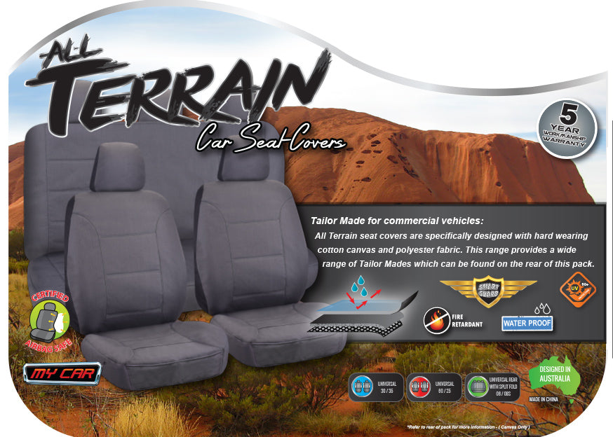 CHARCOAL FULL CAR PACK POLY CANVAS SEAT COVERS FOR MITSUBISHI PAJERO WAGON 06-ON