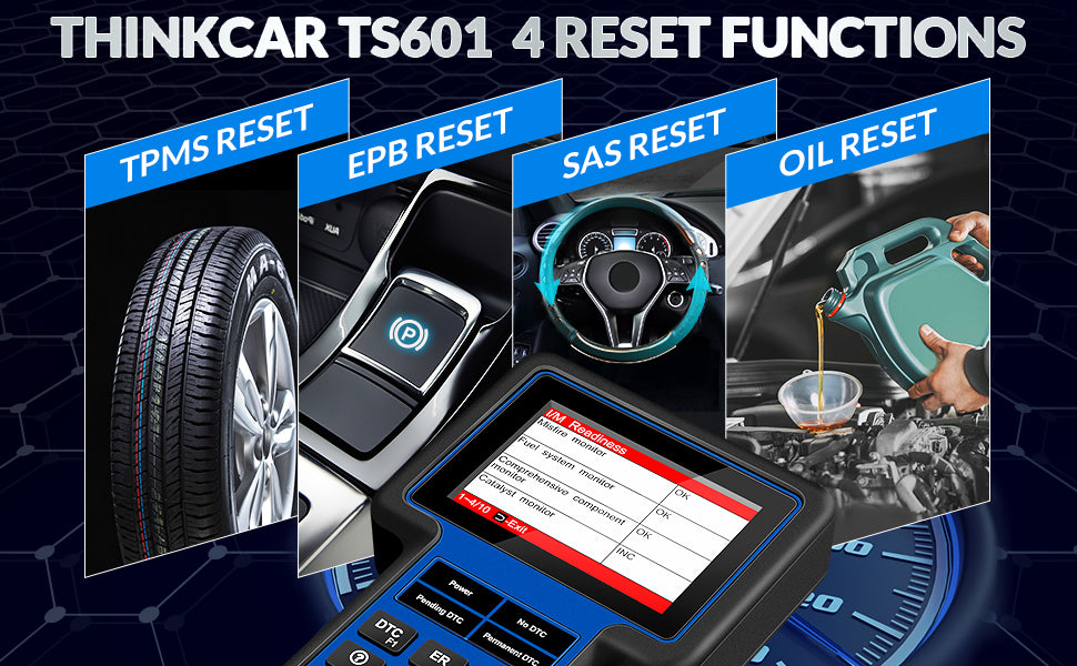 OBDII Diagnostic Tool THINKSCAN TS601 For EN/ABS/SRS with Oil EPB SAS TPMS Reset Service Thinkcar TS601 free update