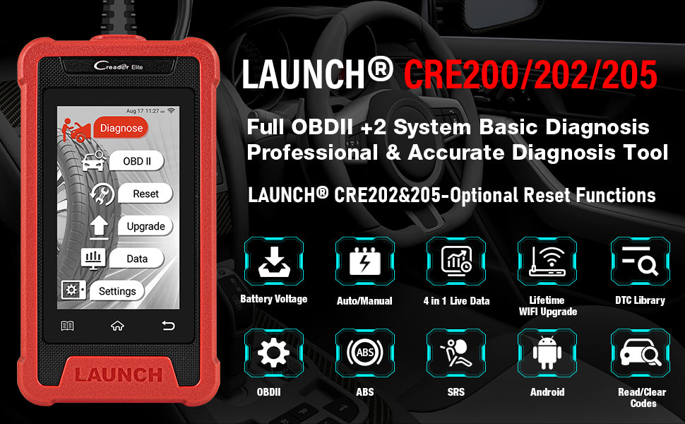 LAUNCH Creader Elite 200/202/205 ABS SRS OBD2 Code Reader with Lifetime Free Update