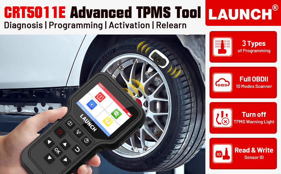 LAUNCH CRT5011E 315/433MHz TPMS Programming and Relearn Tool