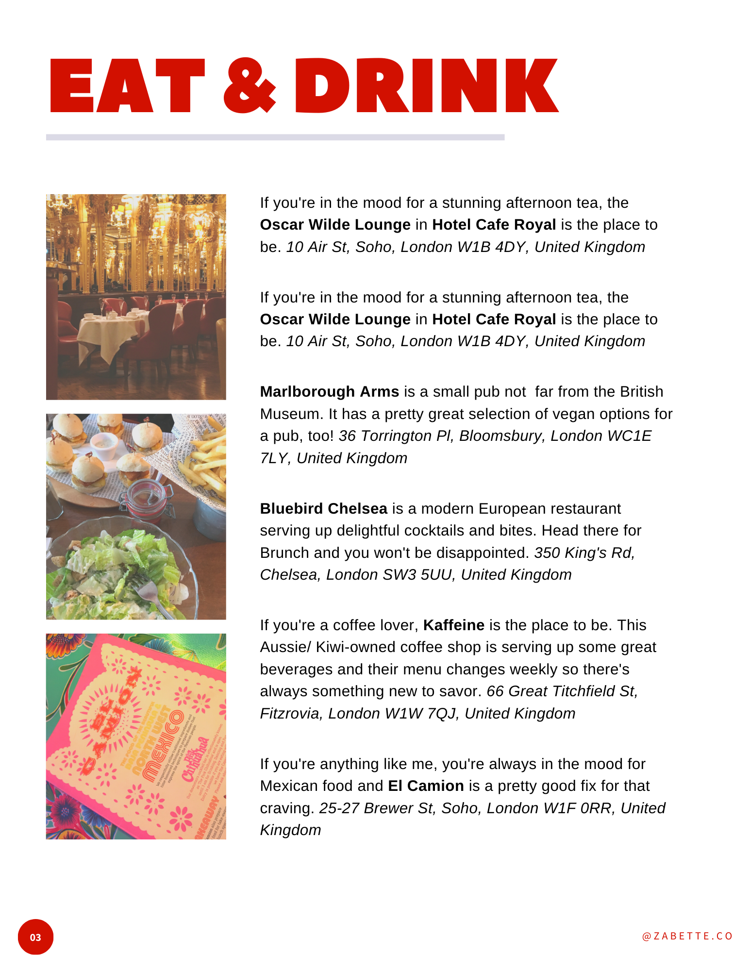 Eat and Drink page of London Travel Guide