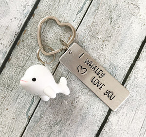 I whaley love you - Hand stamped keychain - Fun - A Woman Knows Best