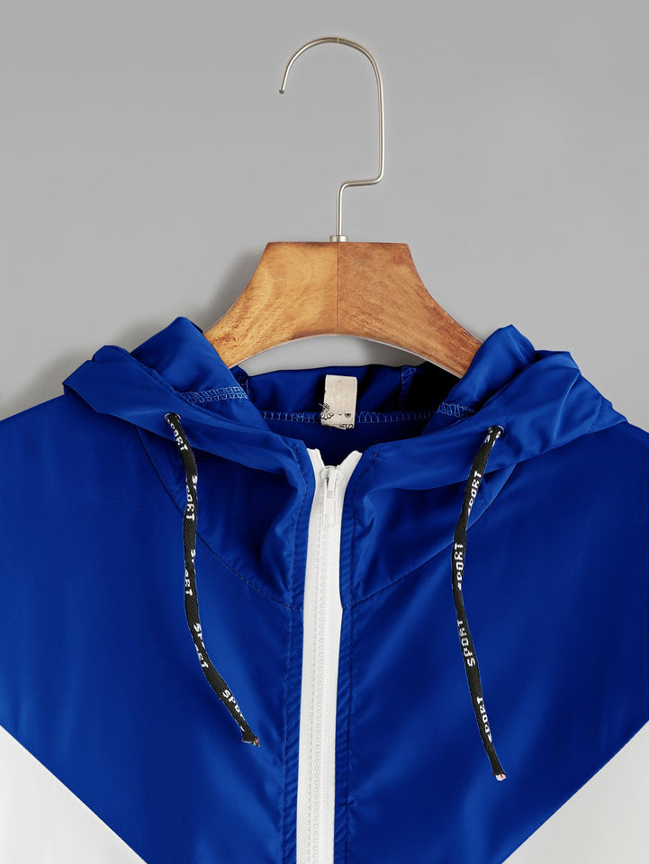 Contrast Drawstring Hooded Zip Up Jacket - A Woman Knows Best