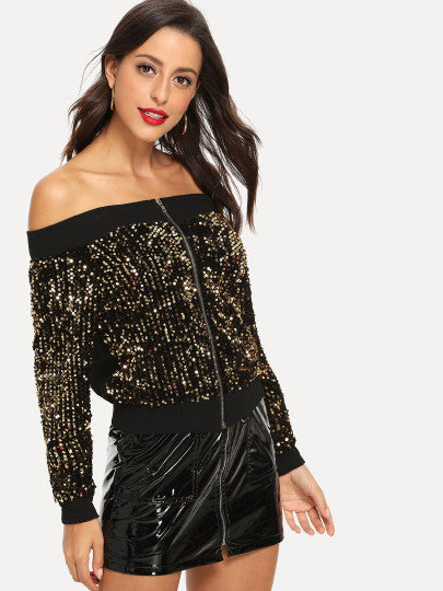Off Shoulder Contrast Sequin Jacket - A Woman Knows Best