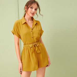 Roll Up Sleeve Blouse With Belt Paper Bag Shorts - A Woman Knows Best