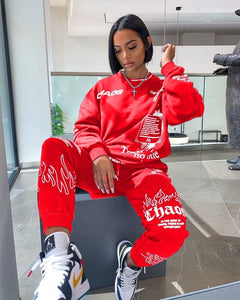 Women Tracksuit 2 Piece Set Autumn Letter Print Oversized Hoodies Sweatshirt Joggers Pants Suit Sweatpants Outfits Matching Set - A Woman Knows Best