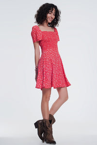 Red Floral Gathered Front Dress - A Woman Knows Best