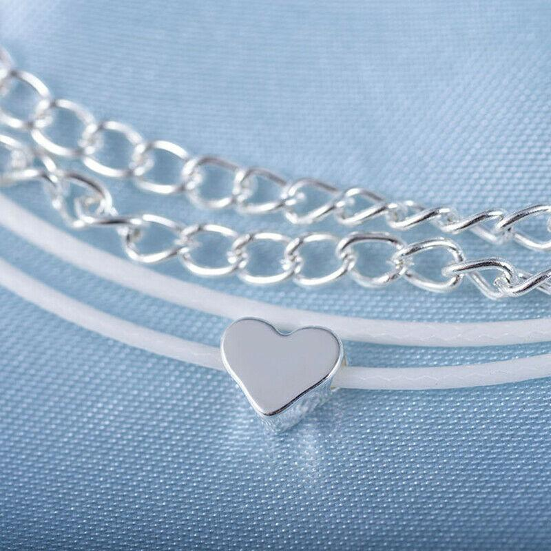 Bohemian Silver Heart Multi Chain Anklet Ankle Bracelet - A Woman Knows Best