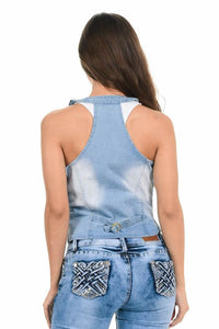 M.Michel Women's Denim Vest - Style 280 - A Woman Knows Best