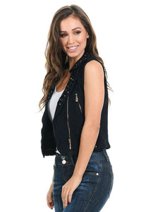 M.Michel Women's Denim Vest - Style 428A - A Woman Knows Best