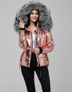 Pink Fur Trimmed Metallic Parka For Women - A Woman Knows Best