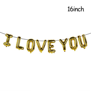 16inch Gold Love Letter Foil Balloons Heart Baloon Hanging Rose Bear Gift for Engagement Wedding Decoration Valentines Day Decor