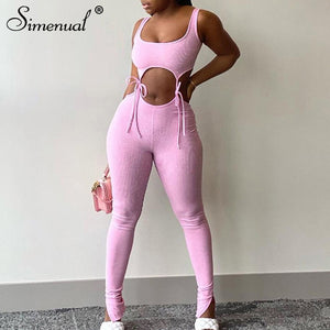 Simenual Bandage Fitness Fashion Women Matching Sets Sleeveless Solid Sporty Workout Two Piece Outfits Skinny Top And Pants Set - A Woman Knows Best