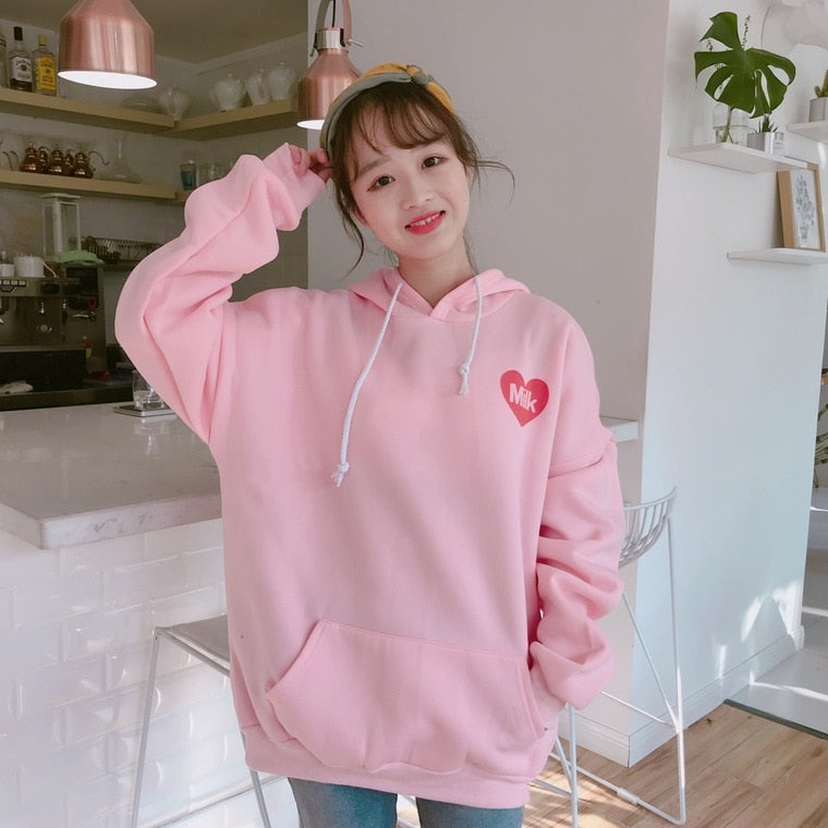 2020 New Fashion Cute Cartoon Printed Back Velvet Thick Hooded Long Sleeve Female Sweatshirts - A Woman Knows Best