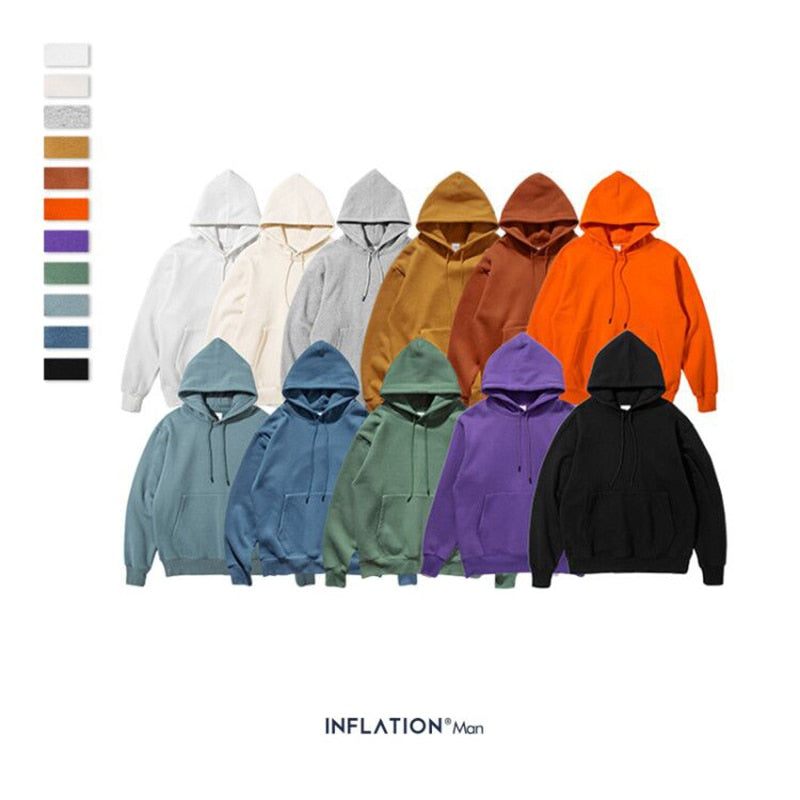 INFLATION 2020 Autumn Mens Thick Fleece Hoodies Hip Hop Pure Hoodies Thick Velvet Fabrics Winter Hoodies For Men Women 167W17 - A Woman Knows Best