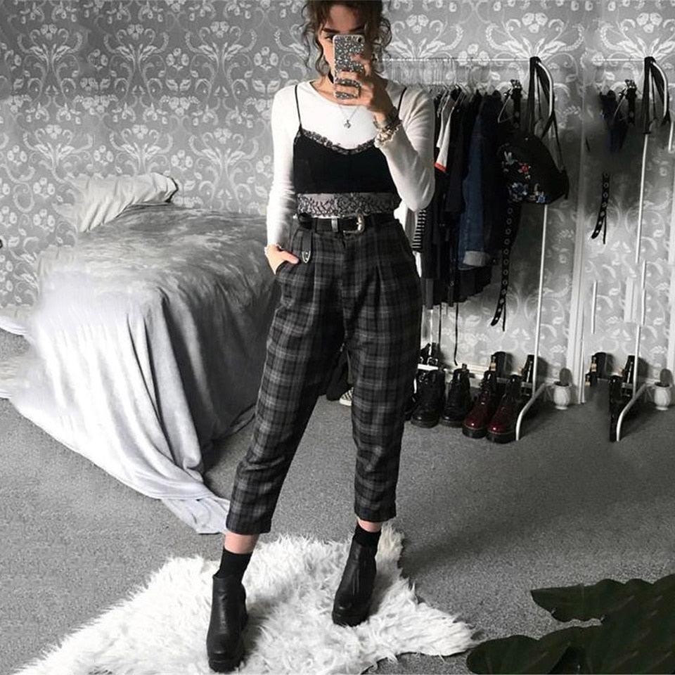 Plaid Pants Women Streetwear Cool Girl High Waist Trousers harem sweatpants joggers women cargo sweat pants korean pantalon - A Woman Knows Best