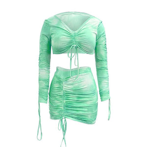 Simenual Tie Dye Print Drawstring Sexy Co-ord Sets Women Long Sleeve Ruched Sexy 2 Piece Outfits Club Bodycon Top And Skirt Set - A Woman Knows Best
