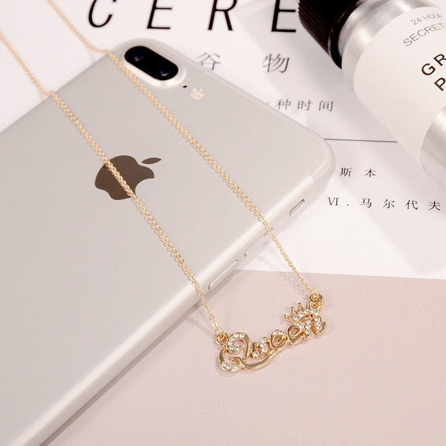 SexeMara Hot Style Jewelry Gold-Color Queen Letter Crystal Choker Necklace Personaliy Pendant Necklace for Women Female 2019 - A Woman Knows Best