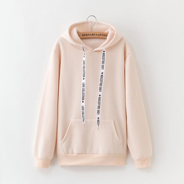 2020 New Social Harajuku Hoodies For Girls Solid Color Hooded Tops Women's Sweatshirt Long-sleeved Winter Velvet Thickening Coat - A Woman Knows Best
