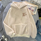 Autumn Winter Coat Pink Sweet Hooded Sorry Print Harajuku Loose Pocket Hoodies Womens Fleece Flannel Pullover Female Sweatshirt - A Woman Knows Best