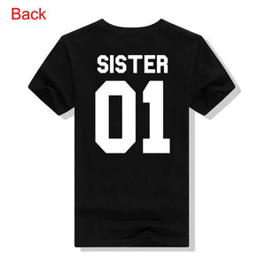 Women Fashion Summer Casual Best Friends T Shirt SISTER 01 SISTER 02 Tees Shirt Short Sleeve Sister Matching Outfit Female Tops - A Woman Knows Best