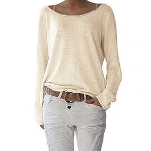 Solid Color Comfortable Casual Round Neck Long Sleeve Women Knitted T-shirt Bottoming Top
