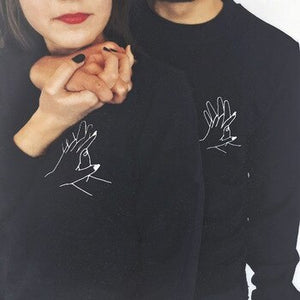 High Quality Sweashirt Men Women Couple Hoodies Spring Autumn Black Graphic Lover's Interlocking Fingers Hand Print Pullovers - A Woman Knows Best