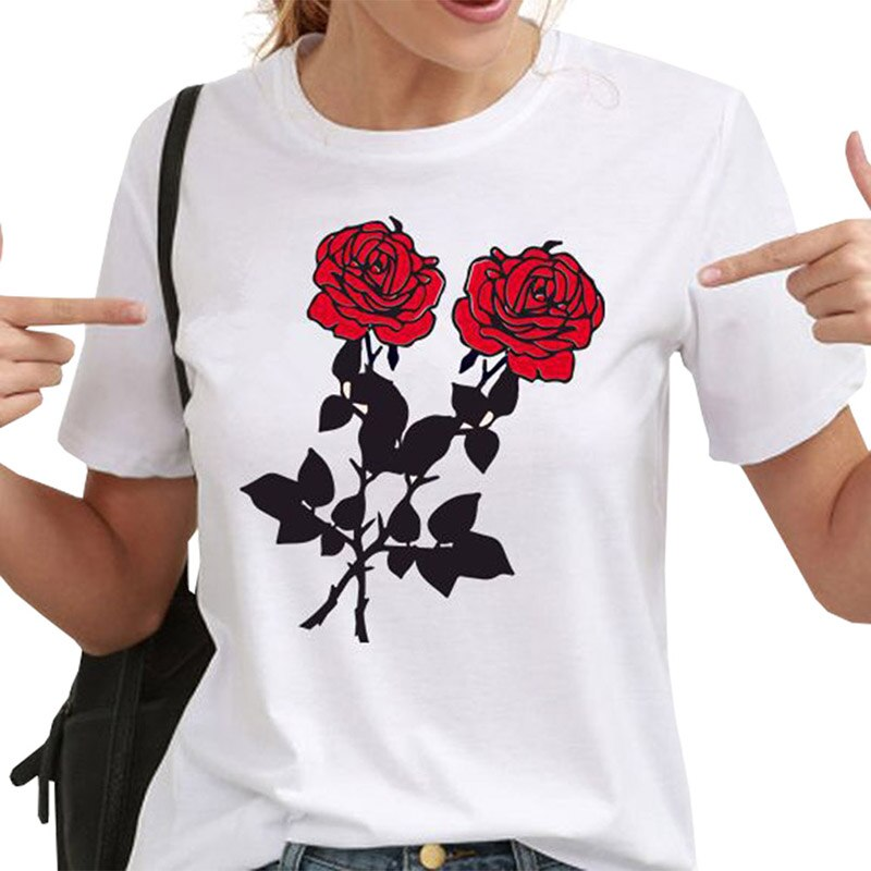 Women Summer Tops Casual Round Neck Short Sleeve White Shirts Streetwear New Fashion Rose Printed T-shirts - A Woman Knows Best