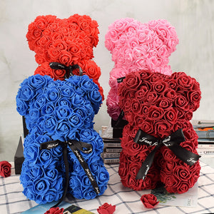 Nice Valentines Day Gift 25cm Red Rose Bear Rose Flower Artificial Decoration Christmas Gifts Women Valentines Gift Home Decor